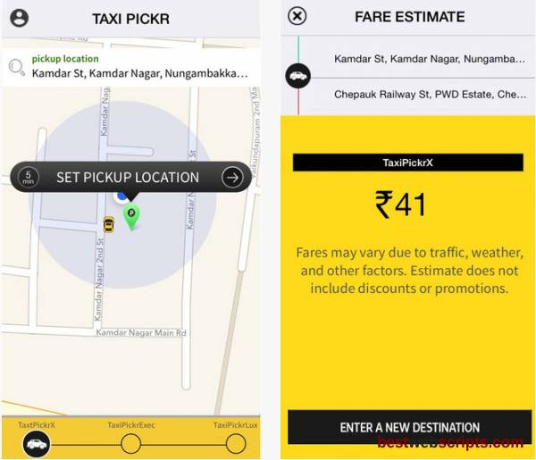 Uber Clone script - Taxi pickr  - Taxi booking software